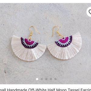 Small Half Moon Tassel Earrings with Tribal